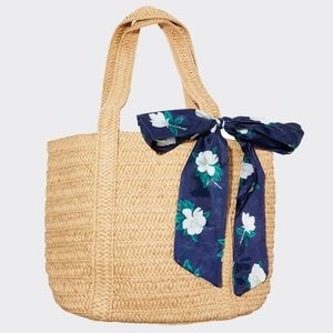 NWT James Straw Bag w/Floral Scarf